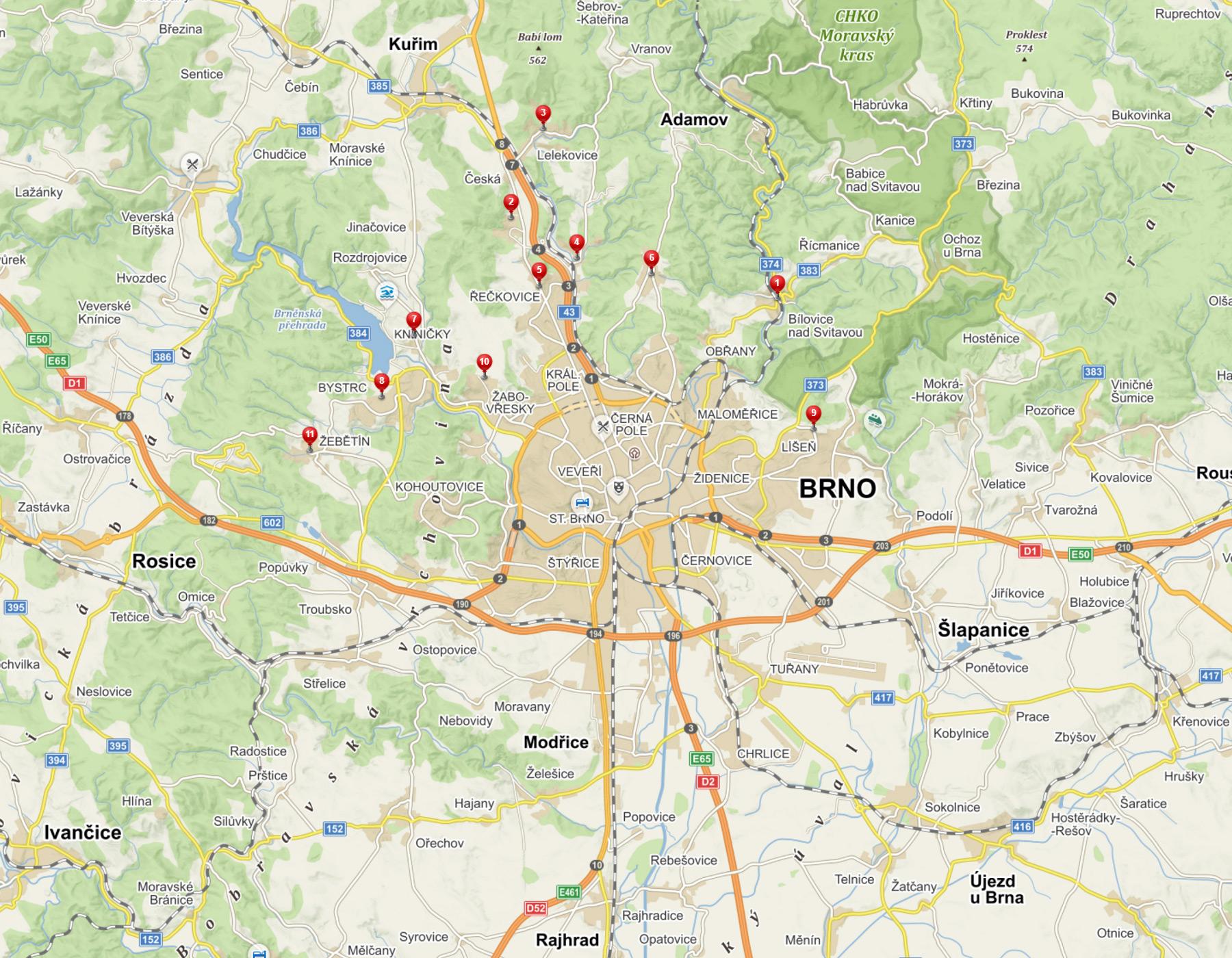 Mapa preferovaných lokalit